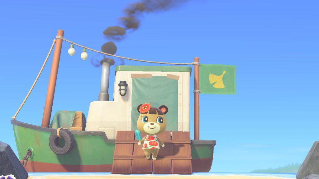 Un personnage d'Animal Crossing se tient sur le bateau de Rounard