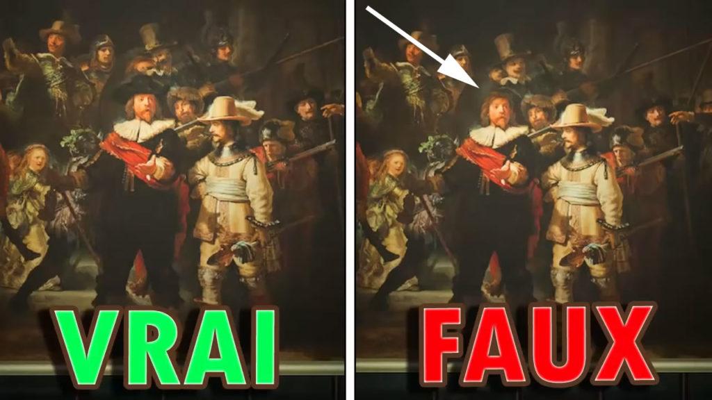 Une comparaison montrant qu'il manque un chapeau à la fausse version de la Toile Incroyable