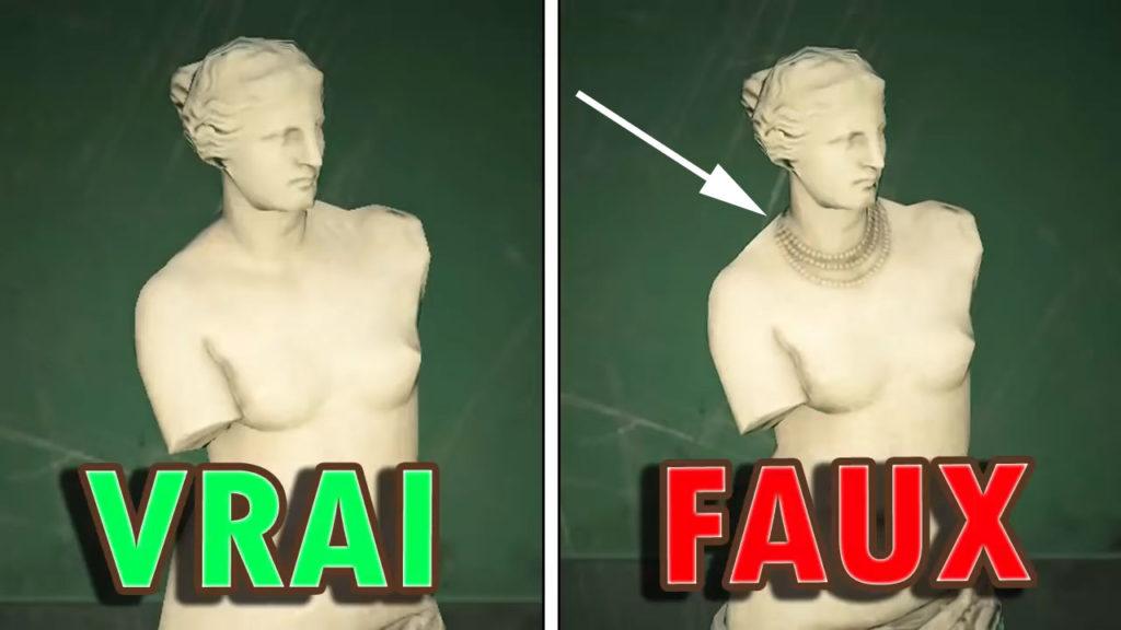 Une comparaison entre la vraie et la fausse Statue Féminine