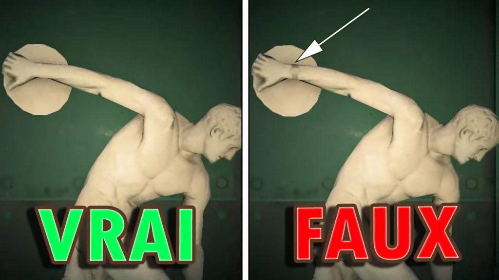 Une comparaison entre la vraie et la fausse Statue Athlétique