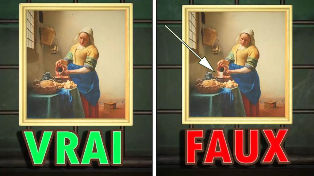 Une comparaison montrant que la fausse version de la toile charmante a plus de lait