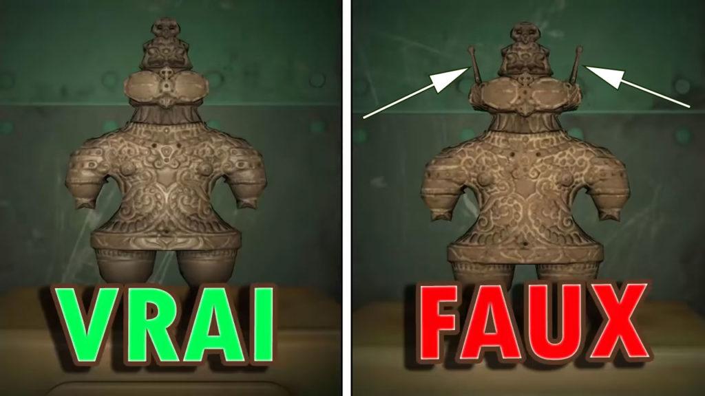 Une comparaison entre la vraie et la fausse Statuette Antique
