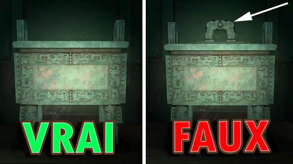 Une comparaison entre la fausse et la vraie Sculpture Singulière. Le faux a un couvercle dessus.