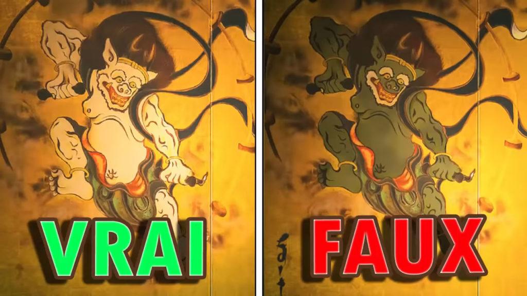 Une comparaison montrant la vraie et la fausse Toile Sauvage (partie gauche). La fausse version montre la bête verte plutôt que blanche