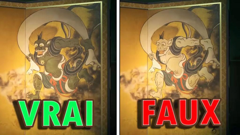 Une comparaison entre la vraie et la fausse toile sauvage (partie droite).