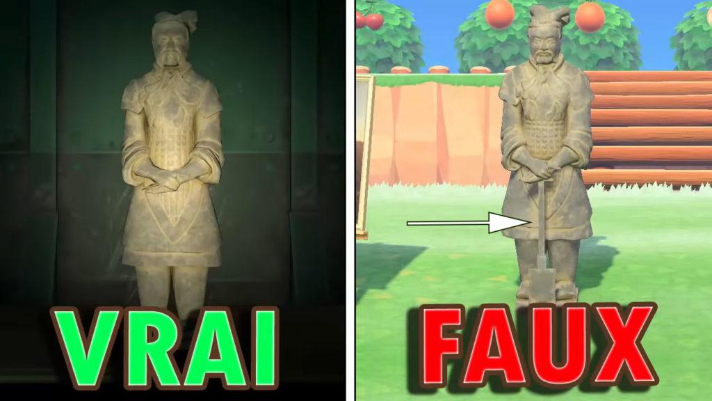 Une comparaison entre la vraie et la fausse Statue Guerrière