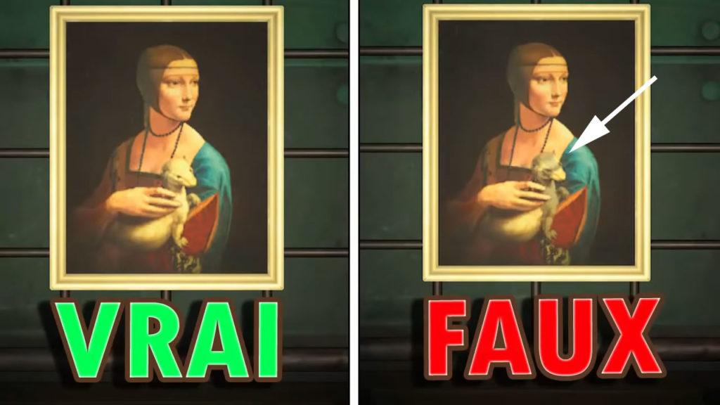 Une comparaison du vrai et du faux TOILE ROYALE dans Animal Crossing. Le faux tient une créature avec un motif de raton laveur