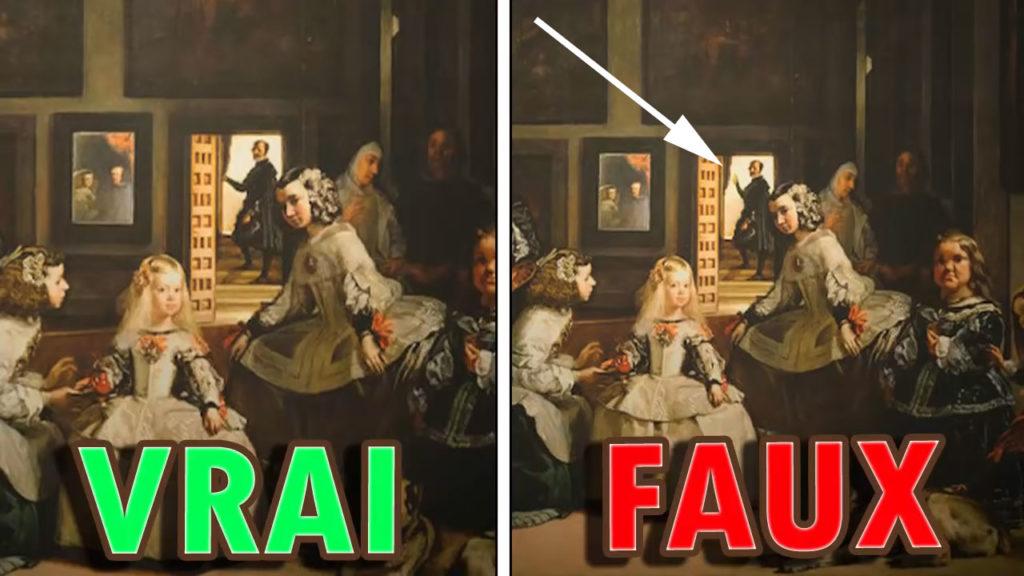 Une comparaison montrant la fausse version de la toile solennelle a un homme levant le bras