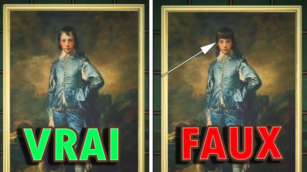 Une comparaison montrant que le garçon dans la fausse toile classique a plus de cheveux