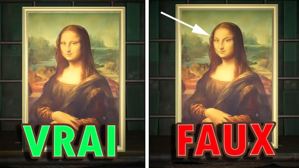 Une comparaison montrant que la fausse version du TOILE CÉLÈBRE a des sourcils.