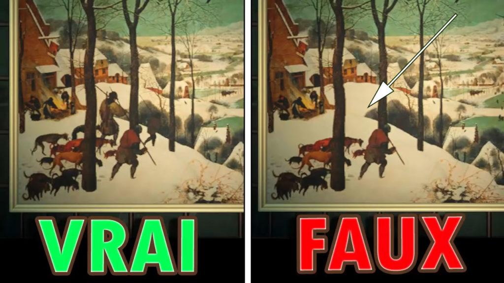Une comparaison montrant que la fausse version de la toile hivernale manque des personnes