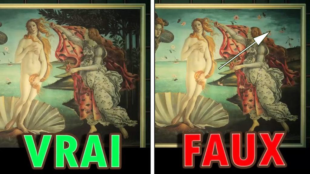 Une comparaison montrant la fausse version des arbres manquants de la toile émouvante